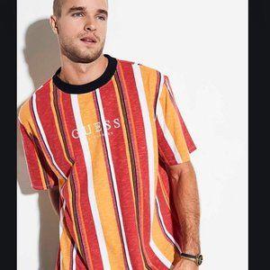 GUESS ORIGINALS striped shirt; red & orange